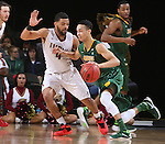 SIOUX FALLS, SD - MARCH 6:  Khy Kabellis #13 of North Dakota State drives past Jordan Pickett #4 of IUPUI in the 2016 Summit League Tournament.  (Photo by Dave Eggen/Inertia)