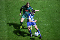 Luke O'Nien of Wycombe Wanderers & Oscar Threlkeld of Plymouth Argyle during the Sky Bet League 2 match between Wycombe Wanderers and Plymouth Argyle at Adams Park, High Wycombe, England on 14 March 2017. Photo by Andy Rowland / PRiME Media Images.