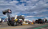Oct. 31, 2008; Las Vegas, NV, USA: The car of NHRA top fuel dragster driver Tony Schumacher is towed towards the starting line during qualifying for the Las Vegas Nationals at The Strip in Las Vegas. Mandatory Credit: Mark J. Rebilas-