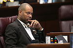 Nevada Senate Minority Leader Aaron Ford, D-Las Vegas, listens to public comment during a special session at the Nevada Legislature in Carson City, Nev. on Tuesday, Oct. 11, 2016.  Lawmakers are considering public funding to build a $1.9 billion football stadium and expand the Las Vegas Convention Center. Cathleen Allison/Las Vegas Review-Journal