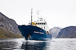 The Akademik Shokakskiy sails the Tasermiut fjord. Cape Farewell Youth Expedition 08(©Robert vanWaarden ALL RIGHTS RESERVED)