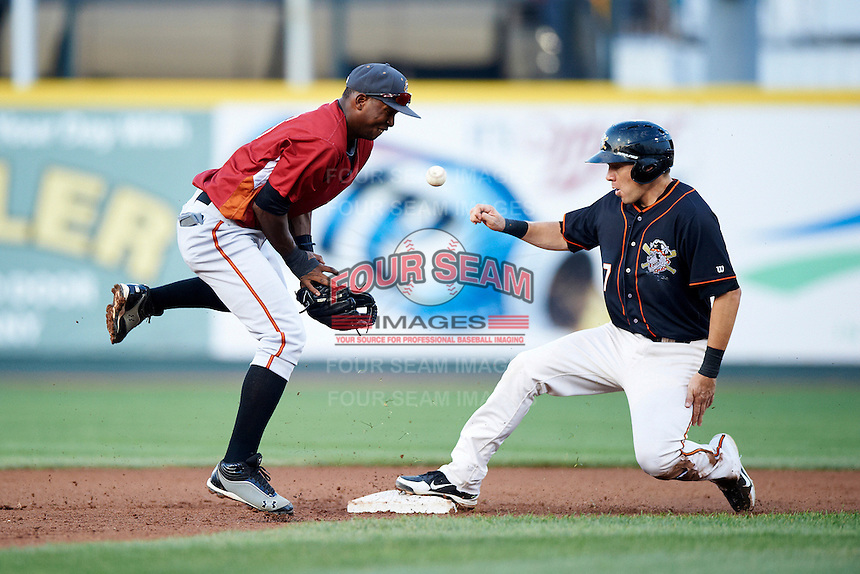 Altoona Curve shortstop Oscar Tejeda #25 blocks a throw in the dirt as Niuman Romero #7 slides in safely during an Eastern League game against the Erie Seawolves at Jerry Uht Park on August 31, 2012 in Erie, Pennsylvania.  Altoona defeated Erie 4-3.  (Mike Janes/Four Seam Images)
