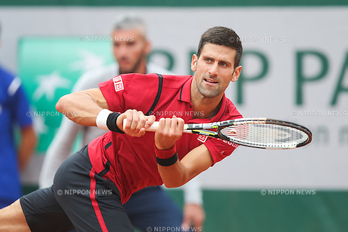 Novak Djokovic (SRB), JUNE 5, 2016 - Tennis : Novak Djokovic of Serbia during the Men's singles final match of the French Open tennis tournament against Andy Murray of Great Britain at the Roland Garros in Paris, France. (Photo by AFLO)