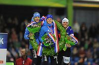 SCHAATSEN: HEERENVEEN: IJsstadion Thialf, 28-12-2014, NK Allround, Jorien Voorhuis, Ireen Wüst, Linda de Vries, ©foto Martin de Jong