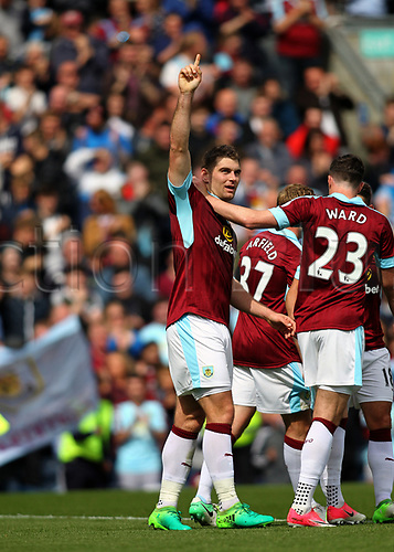 May 21st 2017, Turf Moor, Burnley,  England; EPL Premier league football, Burnley versus West Ham United;  Sam Vokes of Burnley salutes the crowd after making it 1-0 in the 23rd minute