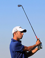 Pablo Larrazabal (ESP) on the 8th tee at Kingsbarns during Round 1 of the 2015 Alfred Dunhill Links Championship at the Old Course St. Andrews in Scotland on 1/10/15.<br /> Picture: Thos Caffrey | Golffile
