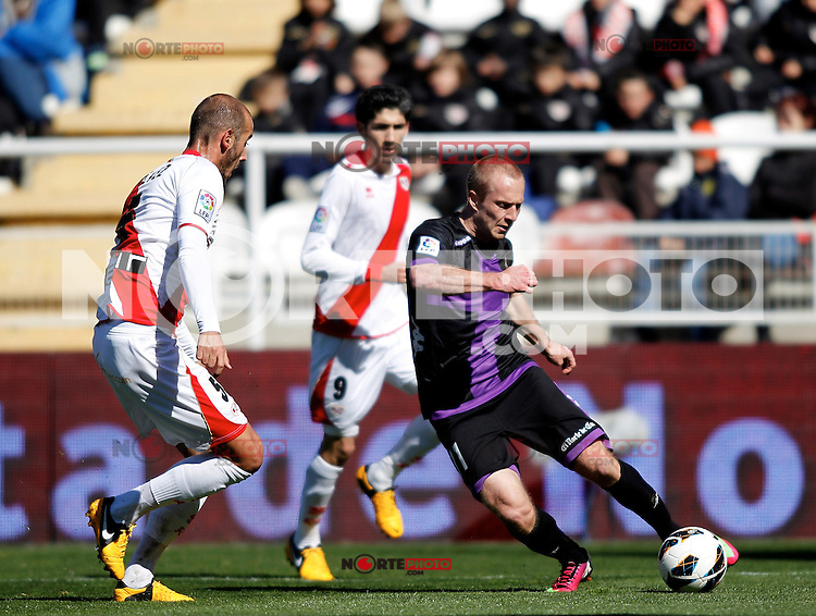 Real Valladolid's Daniel Larsson and Rayo Vallecano's Galvez during La Liga  match. February 24,2013.(ALTERPHOTOS/Alconada)
