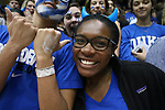 DURHAM, NC - JANUARY 29: Duke students, known as Cameron Crazies. The Duke University Blue Devils hosted the University of Notre Dame Fighting Irish on January 29, 2018 at Cameron Indoor Stadium in Durham, NC in a Division I men's college basketball game. Duke won the game 88-66.