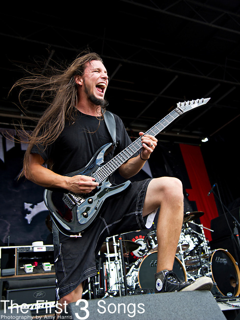 Tony Asta of Battlecross performs during the 2013 Mayhem Festival at Klipsch Music Center in Indianapolis, Indiana.