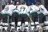 Spartans huddle around their goal before the start - The University of Maine Black Bears defeated the Michigan State University Spartans 5-4 on Sunday, March 26, 2006, in the NCAA East Regional Final at the Pepsi Arena in Albany, New York.