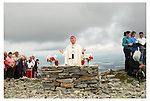 Archbishop of Tuam  Michael Neary celebrating the 11 o clock mass on the summit of Croagh Patrick. The mass was for the 1st time televised live on RTE...Pic Conor McKeown.