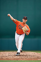 Baltimore Orioles pitcher Nick Vichio (56) delivers a pitch during an Instructional League game against the Tampa Bay Rays on October 5, 2017 at Ed Smith Stadium in Sarasota, Florida.  (Mike Janes/Four Seam Images)