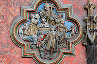 The baptism of Firme, St Firmin's father, low relief plaque on the South side of the Gothic choir screen, 1490-1530, commissioned by canon Adrien de Henencourt, depicting the life of St Firmin, in the South ambulatory of the Basilique Cathedrale Notre-Dame d'Amiens or Cathedral Basilica of Our Lady of Amiens, built 1220-70 in Gothic style, Amiens, Picardy, France. St Firmin, 272-303 AD, was the first bishop of Amiens. Amiens Cathedral was listed as a UNESCO World Heritage Site in 1981. Picture by Manuel Cohen