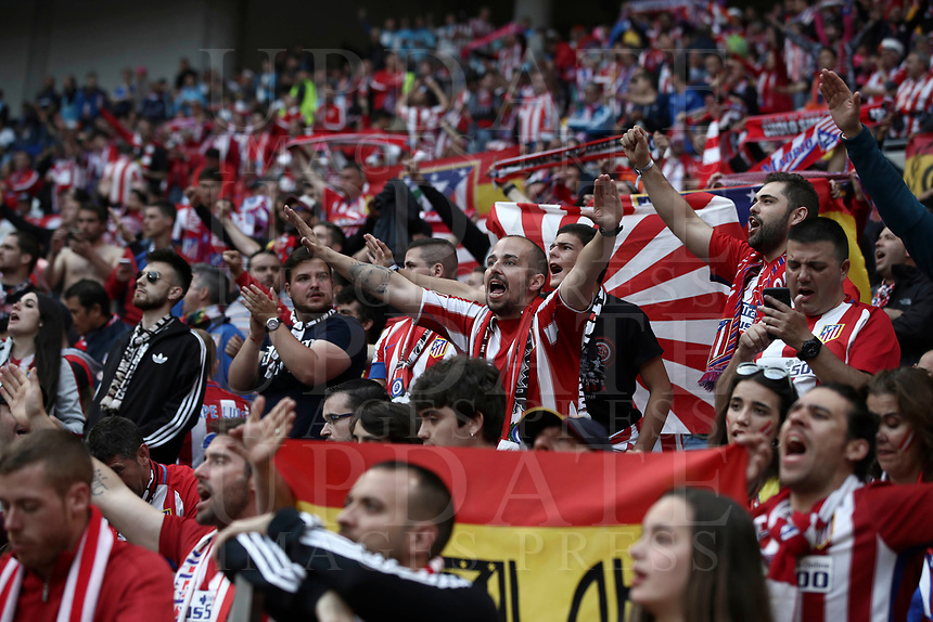 Club Atletico de Madrid fans wait for there start of the UEFA Europa League final football match between Olympique de Marseille and Club Atletico de Madrid at the Groupama Stadium in Decines-Charpieu, near Lyon, France, May 16, 2018.<br /> UPDATE IMAGES PRESS/Isabella Bonotto