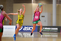Southern Blast&rsquo;s Zoey Flockton and Central Manawa&rsquo;s Paris Lokotui in action during the Beko Netball League - Central Manawa v Southern Blast at ASB Sports Centre, Wellington, New Zealand on Sunday 12 May 2019. <br /> Photo by Masanori Udagawa. <br /> www.photowellington.photoshelter.com