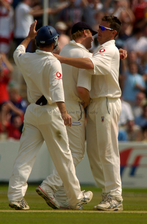 Photo. Glyn Thomas. .England v West Indies. Second nPower Test. .Edgbaston, Birmingham..31/07/2004..Ashley Giles celebrates taking a wicket with Andrew Flintoff..