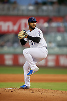 Pensacola Blue Wahoos pitcher Anthony Vizcaya (32) during a Southern League game against the Mobile BayBears on July 25, 2019 at Blue Wahoos Stadium in Pensacola, Florida.  Pensacola defeated Mobile 3-2 in the second game of a doubleheader.  (Mike Janes/Four Seam Images)