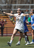 Boston College midfielder Mikaela Rix (17) celebrates important goal.Boston College (white) defeated Duke University, 10-9, at Newton Campus Lacrosse Field, on April 6, 2013.