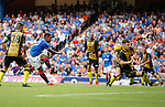 25.07.2019 Rangers v Progres Niederkorn: Rangers striker Alfredo Morelos has a shot blocked by Tim Hall