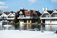 Henley on Thames. United Kingdom.   2018 Henley Royal Regatta, Henley Reach. <br />   <br /> Chrome Boats horn,  Moored Narrow Boat, on the Berks side of the Regatta course, Course Construction<br /> <br /> Thursday  03/05/2018<br /> <br /> [Mandatory Credit: Peter SPURRIER:Intersport Images]<br /> <br /> Leica Camera AG  LEICA M (Typ 262)  f3.4  1/1500sec  mm  25.1MB