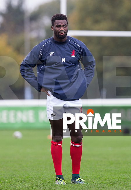 Matt Williams of London Scottish during warm up during the Greene King IPA Championship match between London Scottish Football Club and Jersey at Richmond Athletic Ground, Richmond, United Kingdom on 7 November 2015. Photo by Andy Rowland.