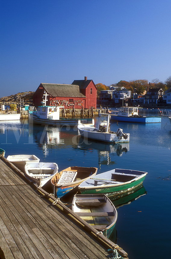 Rockport, harbor, fishing boats, MA, Massachusetts, Fishing boats docked in Rockport Harbor in Rockport in the fall.