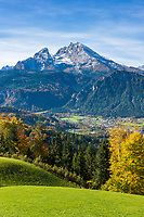Deutschland, Bayern, Oberbayern, Berchtesgadener Land, Schoenau am Koenigssee: mit Kleiner und Grosser Watzmann | Germany, Upper Bavaria, Berchtesgadener Land, Schoenau am Koenigssee: with Watzmann mountain