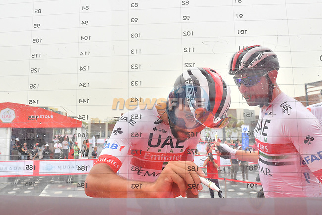 Fernando Gaviria (COL) UAE Team Emirates signs on before the start of Stage 6 of the 2019 UAE Tour, running 175km form Ajman to Jebel Jais, Dubai, United Arab Emirates. 1st March 2019.<br /> Picture: LaPresse/Massimo Paolone | Cyclefile<br /> <br /> <br /> All photos usage must carry mandatory copyright credit (© Cyclefile | LaPresse/Massimo Paolone)