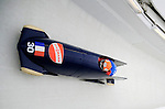 15 December 2007: France 1 pilot Michael Serise with brakeman Alexandre Jolivet enter turn 17 during their second run at the FIBT World Cup Bobsled Competition at the Olympic Sports Complex on Mount Van Hoevenberg, at Lake Placid, New York, USA. ..Mandatory Photo Credit: Ed Wolfstein Photo