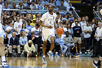 CHAPEL HILL, NC - MARCH 03: Brandon Robinson #4 of the University of North Carolina brings the ball up the court during a game between Wake Forest and North Carolina at Dean E. Smith Center on March 03, 2020 in Chapel Hill, North Carolina.