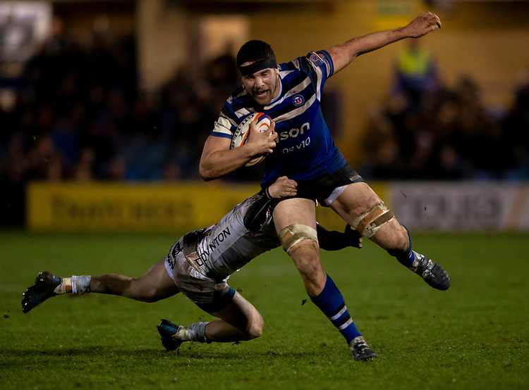 Bath Rugby's Charlie Ewels in action during todays match<br /> <br /> Photographer Bob Bradford/CameraSport<br /> <br /> Gallagher Premiership - Bath Rugby v Gloucester Rugby - Monday 4th February 2019 - The Recreation Ground - Bath<br /> <br /> World Copyright &copy; 2019 CameraSport. All rights reserved. 43 Linden Ave. Countesthorpe. Leicester. England. LE8 5PG - Tel: +44 (0) 116 277 4147 - admin@camerasport.com - www.camerasport.com