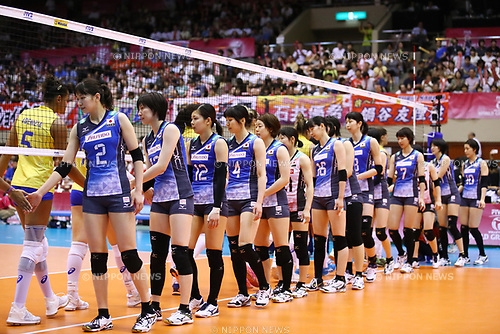 Japan team group (JPN), <br /> JULY 16, 2017 - Volleyball : FIVB Volleyball World Grand Prix SENDAI 2017 match between <br /> Brazil 2-3 Japan  <br /> at Kamei Arena Sendai, in Sendai, Japan. <br /> (Photo by Sho Tamura/AFLO)
