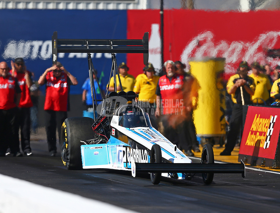 Feb 24, 2017; Chandler, AZ, USA; NHRA top fuel driver Steve Chrisman during qualifying for the Arizona Nationals at Wild Horse Pass Motorsports Park. Mandatory Credit: Mark J. Rebilas-USA TODAY Sports