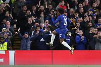Willian celebrates scoring Chelsea's second goal during Chelsea vs Dynamo Kiev, UEFA Europa League Football at Stamford Bridge on 7th March 2019