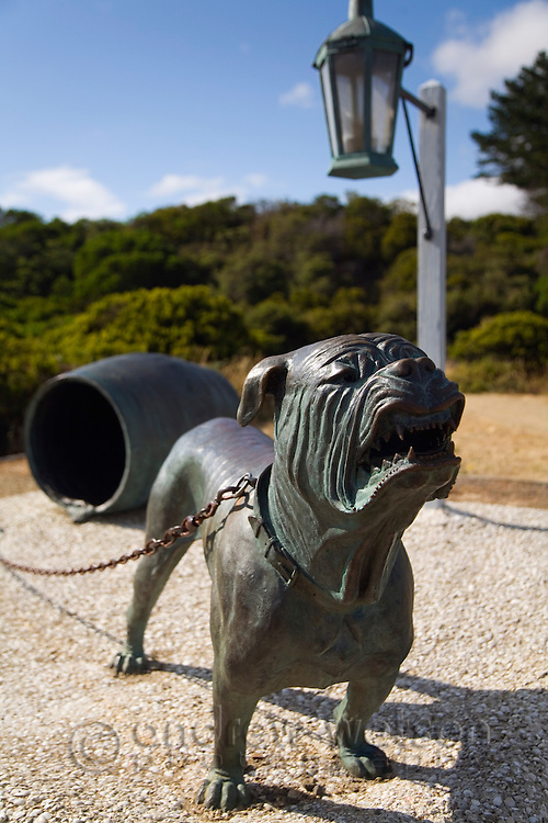 The Dog-Line at Eaglehawk Neck. Established in the 1830s, the line of dog sentries was intended to deter Port Arthur prison escapees crossing the Eaglehawk Neck isthmus.  Tasman Peninsula, Tasmania, Australia
