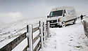 18/11/16<br /> <br /> A van driver had a very lucky escape when a fence stopped his van from plunging over the edge off the road and into the valley below after he lost control in the snow near Edale below Mam Tor. <br /> <br /> Heavy snowfall turns the Peak District near Castleton into a winter wonderland.<br /> All Rights Reserved F Stop Press Ltd. (0)1773 550665   www.fstoppress.com