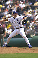 Royals right handed pitcher Jason Grimsley pitches in the eighth inning against Minnesota at Kauffman Stadium in Kansas City, Missouri on August 26, 2001.  The Twins won 7-2.