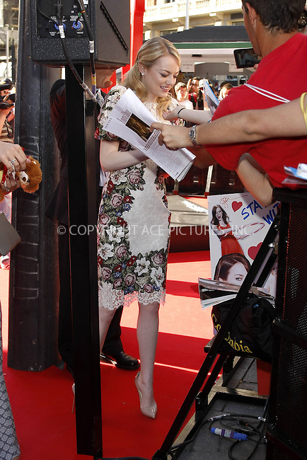 WWW.ACEPIXS.COM . . . . .  ..... . . . . US SALES ONLY . . . . .....June 21 2012, Madrid....Emma Stone at the Madrid premiere of 'The Amazing Spiderman' on June 21 2012 in Madrid.....Please byline: FAMOUS-ACE PICTURES... . . . .  ....Ace Pictures, Inc:  ..Tel: (212) 243-8787..e-mail: info@acepixs.com..web: http://www.acepixs.com