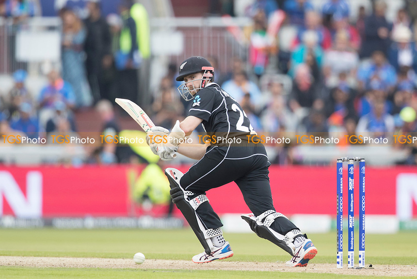 Kane Williamson (New Zealand) clips off his pads for a single during India vs New Zealand, ICC World Cup Semi-Final Cricket at Old Trafford on 9th July 2019