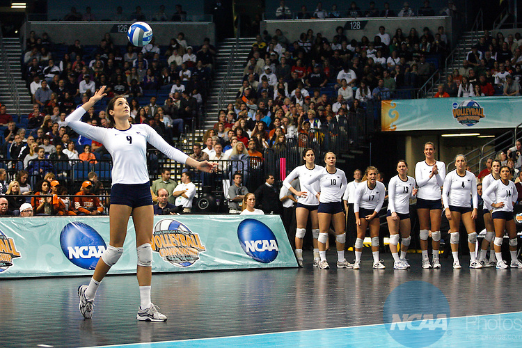 19 DEC 2009:  Blair Brown (9) of Penn State University serves against the University of Texas during the Division I Women's Volleyball Championship held at the St. Pete Times Forum in Tampa, FL.  Penn State defeated Texas 3-2 for the national title.  Jamie Schwaberow/NCAA Photos