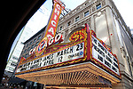 The Chicago Theatre Marquee through a car window in Chicago, IL, USA