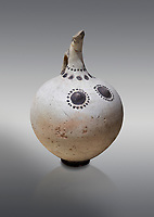 Minoan clay polychrome beak spouted nippled ewer with human and bird features, Akrotiri, Thira (Santorini) National Archaeological Museum Athens. 17th-16th cent BC.<br /> <br /> A characteristic Theran ewer used for libabtions this pot has both painted and plastic features. The dots around the neck represent a necklace.