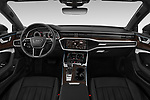 Stock photo of straight dashboard view of a 2019 Audi A7 Prestige 5 Door Hatchback