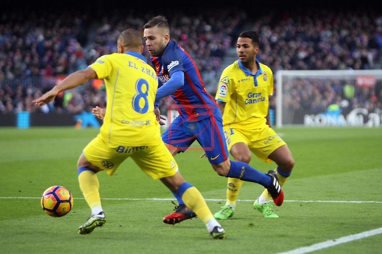 League Santander 2016/2017. Game: 18.<br /> FC Barcelona vs UD Las Palmas: 5-0.<br /> Jordi Alba vs El Zhar.