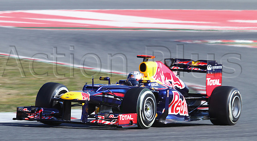 21.02.2012 Barcelona Spain. Formula One testing, day 1.  Red Bull Racing with German driver Sebastian Vettel
