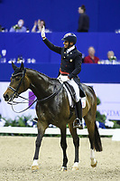 OMAHA, NEBRASKA - MAR 30: Steffen Peters aboard Rosamunde waves to the crowd after the FEI World Cup Dressage Final I at the CenturyLink Center on March 30, 2017 in Omaha, Nebraska. (Photo by Taylor Pence/Eclipse Sportswire/Getty Images)