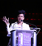 Crystal A. Dickinson on stage at the 73rd Annual Theatre World Awards at The Imperial Theatre on June 5, 2017 in New York City.