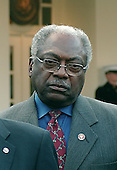 """Washington, D.C. - January 10, 2007 -- U.S. Representative Jim Clyburn (Democrat of South Carolina), House Majority Whip looks on as the Democratic Congressional Leadership makes remarks at the White House following their meeting with United States President George W. Bush in Washington, D.C. on Wednesday, January 10, 2007.  The Democrats complained that their meeting with the President was """"a notification, not a consultation""""..Credit: Ron Sachs / CNP"""
