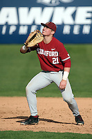 Matt Winaker #21 of the Stanford Cardinal in the field at first base during a game against the Cal State Fullerton Titans at Goodwin Field on February 19, 2017 in Fullerton, California. Stanford defeated Cal State Fullerton, 8-7. (Larry Goren/Four Seam Images)