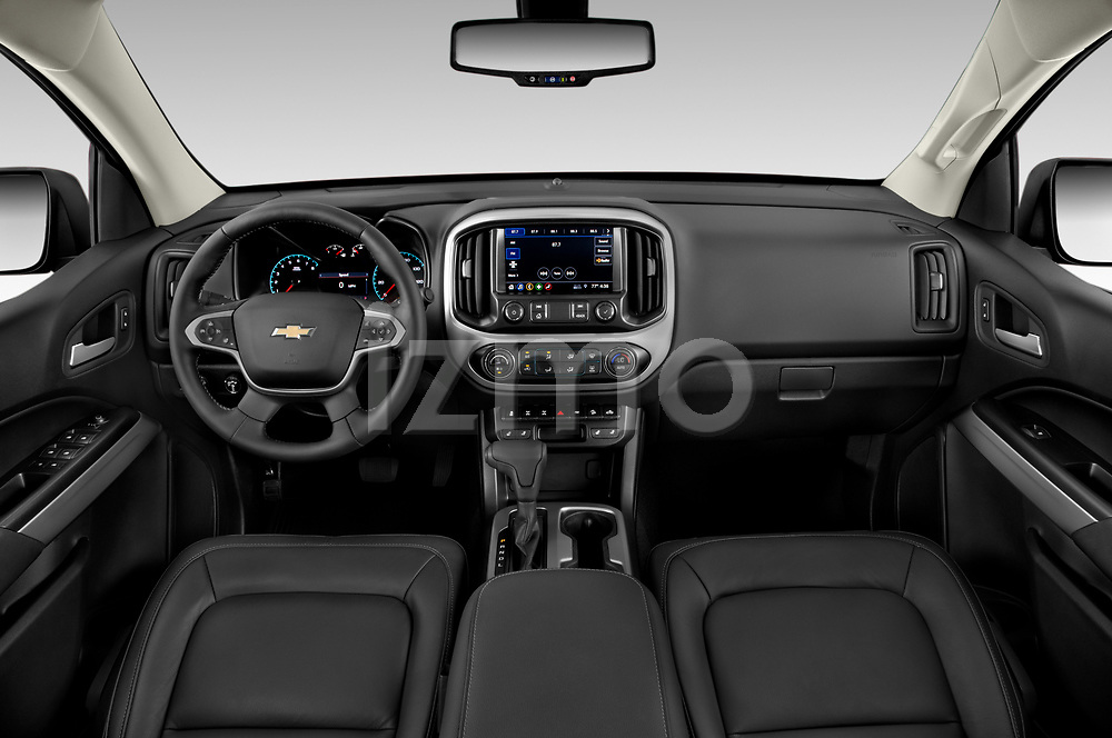Stock photo of straight dashboard view of a 2019 Chevrolet Colorado ZR2 4 Door Pick Up